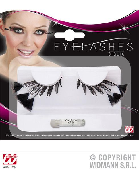 Eyelashes Black W/3 Feathers On The Sides Cosmetics