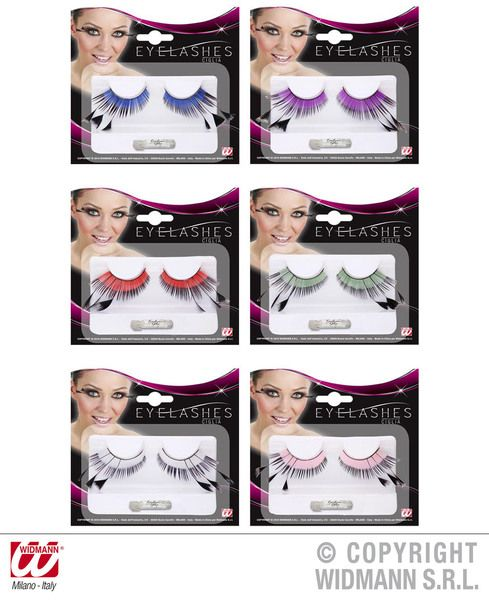 Eyelashes Colour Base & Black Tip W/3 Feathers 6 Colours Cosmetics