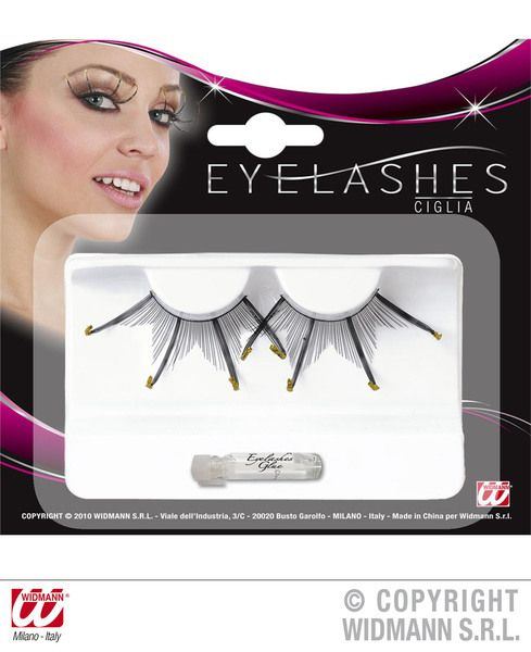 Eyelashes Maxi Spikes W/Gold Glitter Tips Black Cosmetics