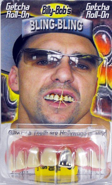 Fake False Teeth Joke Novelty Billy Bob Bling - Bling Gold Gag Trick Novelty