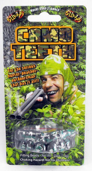 Fake False Teeth Joke Novelty Billy Bob Camo Gag Trick Novelty