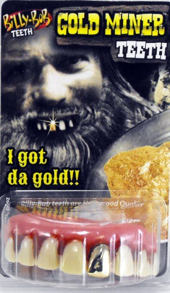 Fake False Teeth Joke Novelty Billy Bob Gold Assted Gag Trick Novelty