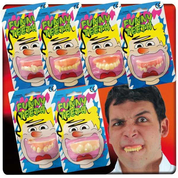 Fake False Teeth Joke Novelty in Blister Asstd Designs 12's Gag Trick Novelty