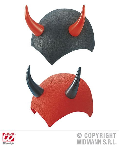 Felt Devil Cap Red / Black Hat Halloween Satan Lucifer Fancy Dress