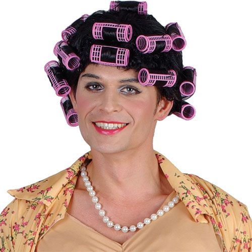 Funny Housewife With Rollers Wig for Sexy Adult Role Play Fancy Dress