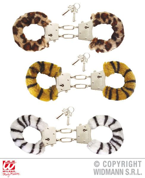 Furry Handcuffs (Zebra/Tiger/Leopard) Cop Police Hen Stag Party Fancy Dress