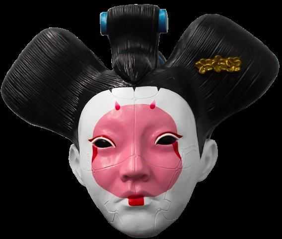 Ghost In The Shell Geisha Full Overhead Head Mask Oriental Halloween Fancy Dress Cosplay