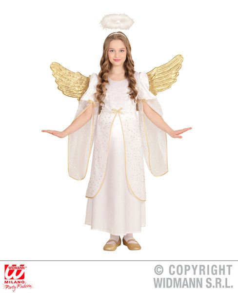 Girls Angel Dress Festive Christmas Holy Nativity Fancy Dress