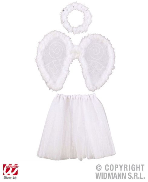 Girls Angel Dress Up Set Tutu Wings Halo Festive Christmas Holy Nativity Fancy Dress