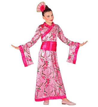 Girls Asian Princess Costume Japanese Kimono Fancy Dress