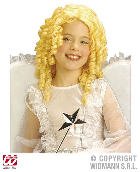 Girls Blonde Curly Angel Wig Size Festive Christmas Holy Nativity Fancy Dress