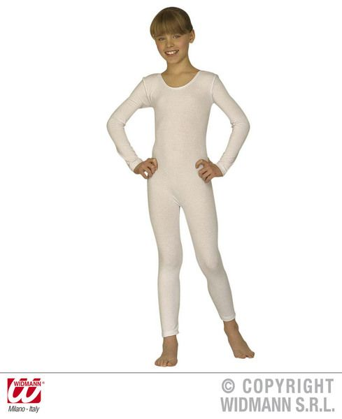 Girls Bodysuit W/Long Sleeves White Ballet Gymnastics Opera Dancer Fancy Dress