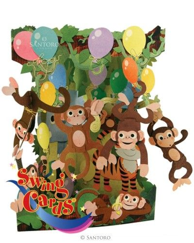 Girls Boys Birthday Card For Childrens Monkey Animals 3d Swing Pop Up Greeting 17771 P