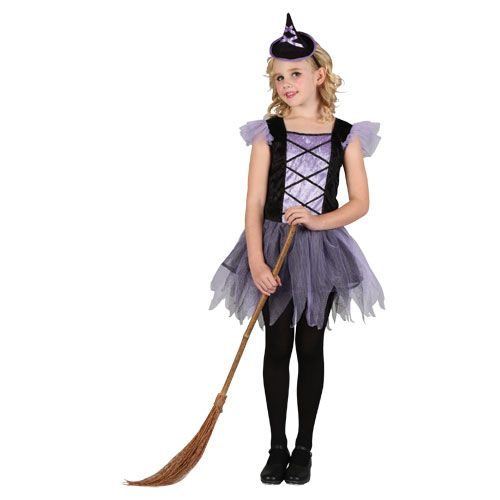 Girls Cute Ballerina Witch Halloween Costume for Fancy Dress Kids Childs