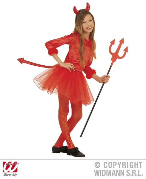Girls Devil Girl Costume Halloween Satan Lucifer Fancy Dress Cosplay Outfit