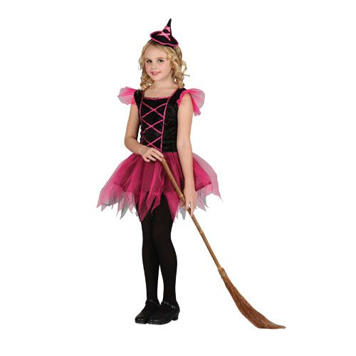 Girls Pretty Ballerina Witch Halloween Costume for Fancy Dress Kids Childs
