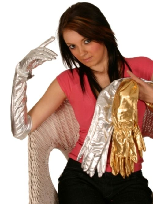 flapper ladies long gold gloves