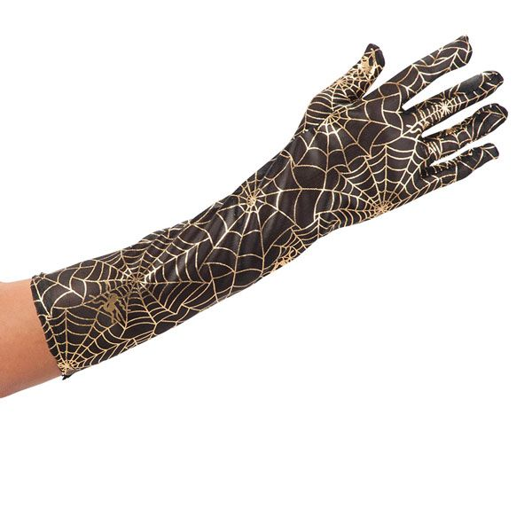 Gloves Spider Web Gold on Black Material Halloween Bug Trick Or Treat