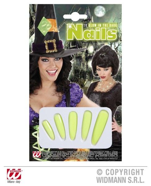Glow In The Dark Witch Nails Glow-Party Night Show Cosmetics