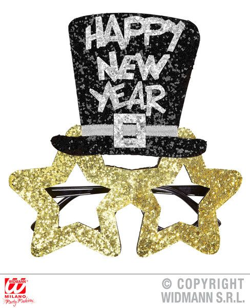 Gold Happy New Year Glasses Fancy Dress