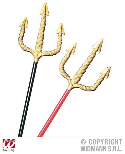 Golden Spiral Pitchfork 120cm Red/Black Farmer Quaker Devil Plastic Novelty Toy