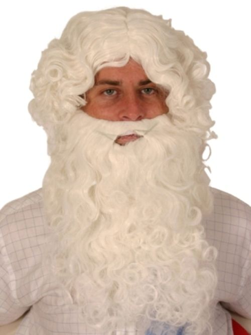 Hair Beard & Wig Santa Curly White Christmas Festive Seasonal Holidays