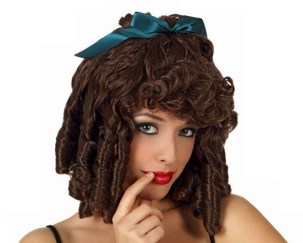Hair Wig Ringlets with Ribbon Brown Wig Victorian Wild West Fancy Dress Accessory