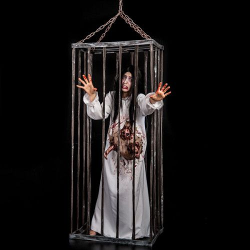 Halloween Decorative Prop Decoration Empty Cage with Chains 180cm