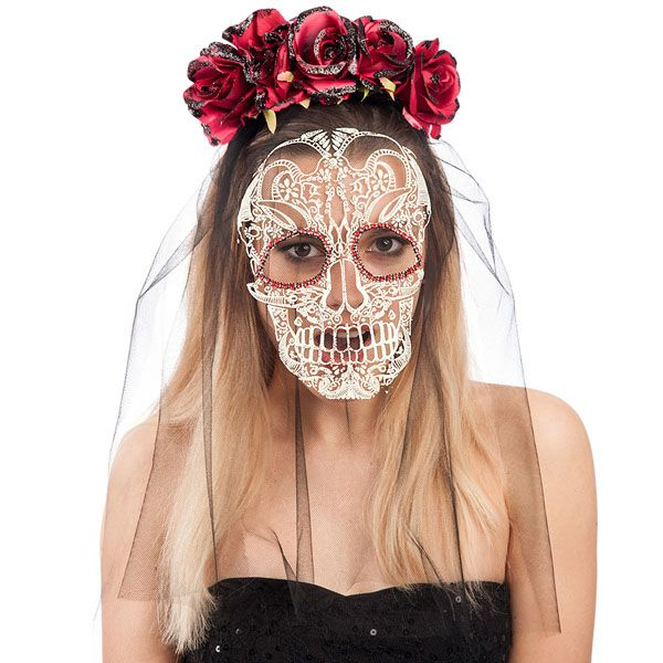 Headband with Roses & Veil with Skull Fa Pirate Halloween Skeleton Head