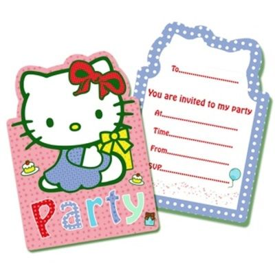 Hello Kitty Party Invite - 6 Pussy Cat Pet Animal Feline