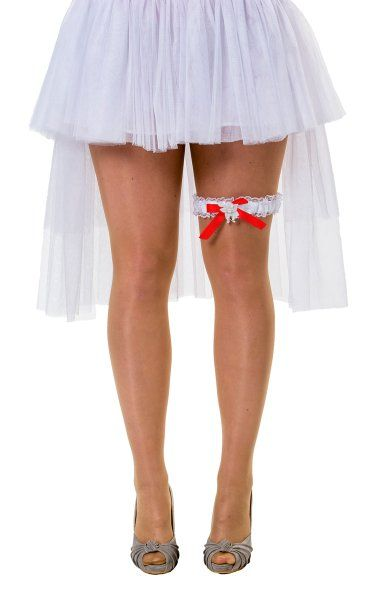 Hen Party Garter Bride White Lace Red Bo Bridal Shower Freedom Party