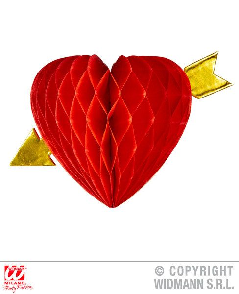 Honeycomb Heart And Arrow Decoration Love Eros Valentine Romantic Party