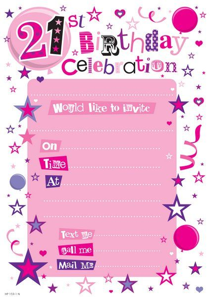 Invitation Birthday 21st Female 20 Sheet
