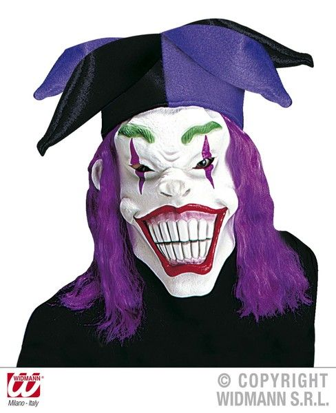 Joker Mask W/Hat And Wig Batman Clown Villian Fancy Dress
