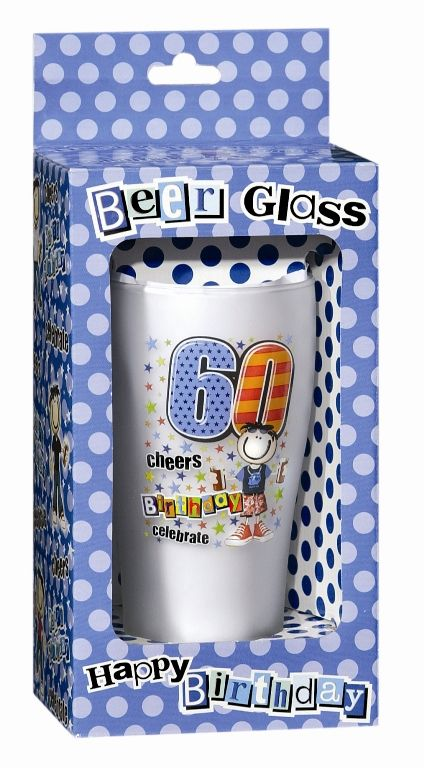 Keepsake Glass Beer for 60TH Birthday 60th Bar Booze Alcohol Drink