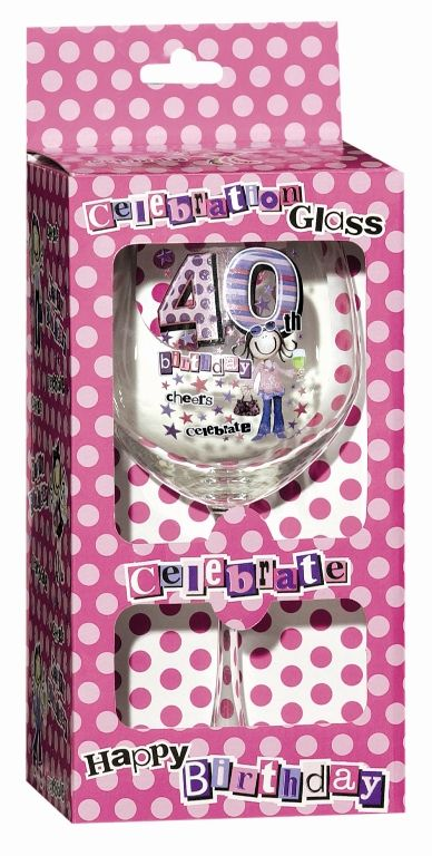 Keepsake Glass Wine for 40TH Birthday 40th
