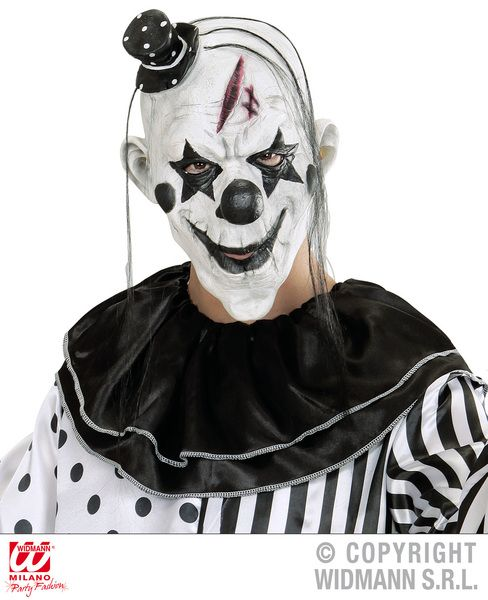 Killer Clown Mask W/Mini Hat Black/White Murderer Halloween Fancy Dress