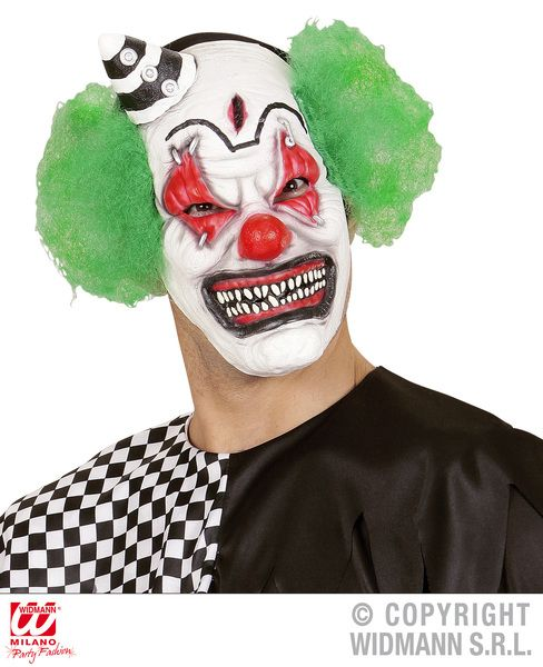Killer Clown Mask W/Mini Hat Green Hair Murderer Halloween Fancy Dress