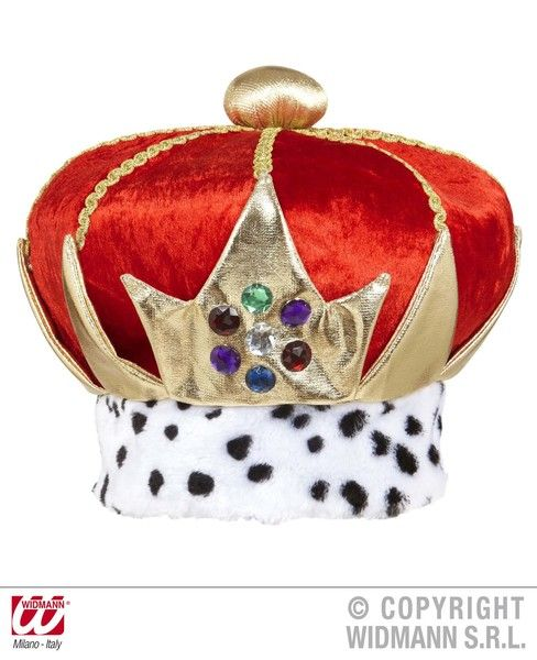 Kings Crown Deluxe Velvet Queen King Prince Princess Fancy Dress