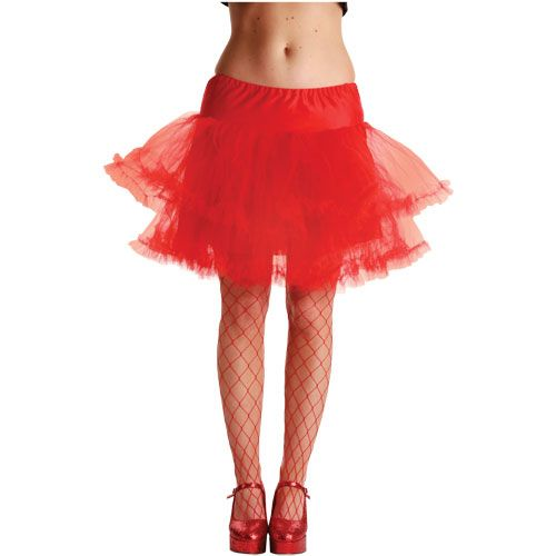 Ladies 3 Layer Ruffle Petticoat Outfit Accessory for 50s Rock n Roll Fancy Dress Red