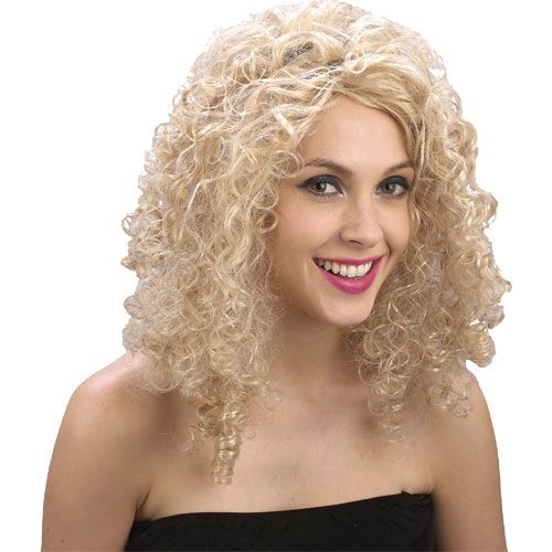 Ladies 80s Curly Blonde Wig for 80s Disco Pop Retro Fancy Dress