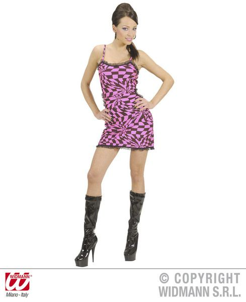 Ladies Black/Pink 60s Chequered Dress Mods Rockers Swinging 60s Fancy Dress