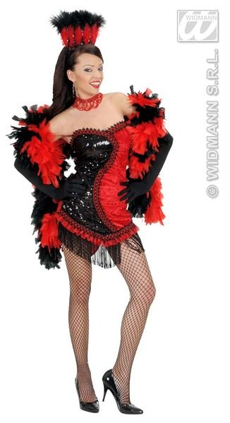 Ladies Black/Red Vegas Showgirl Costume Baroque Moulin Rouge Saloon Stripper