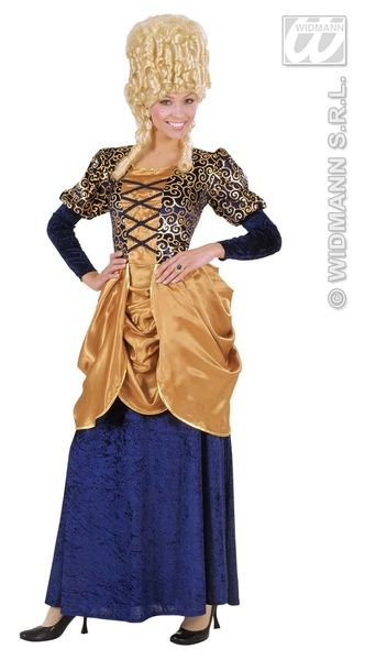 Ladies Blue Marquise Dress Pantomime Dame Ugly Sister Fancy Dress