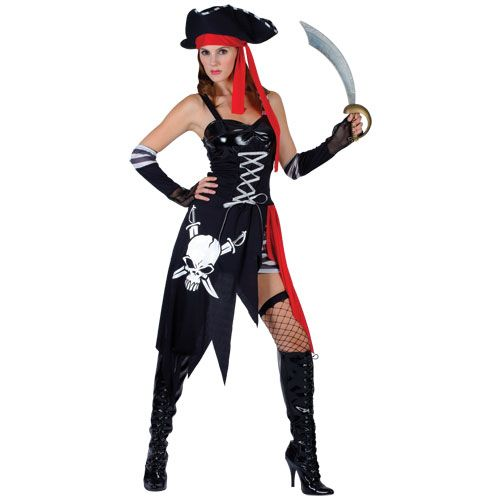 Ladies Buccaneer Beauty Costume for Pirate Fancy Dress Womens