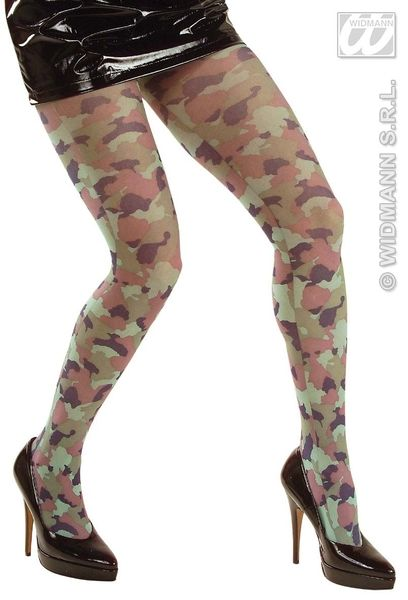 Ladies Camouflage Pantyhose Soldier Army Private Fancy Dress