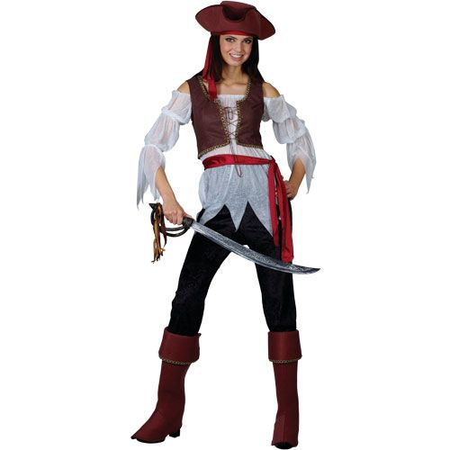Ladies Caribbean Pirate Beauty Costume for Fancy Dress Womens
