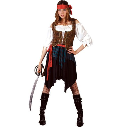 Ladies Caribbean Pirate Lady (Deluxe) Costume for Tropical Jamaican Fancy Dress