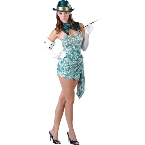 Ladies Casino Lucky Girl Costume for Vegas Poker Fancy Dress Womens