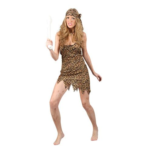 Ladies Cavewoman Costume for Prehistoric Caveman Fancy Dress Womens